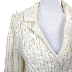 Talbots Large Cream Chunky Cable Knit Long Sleeve
